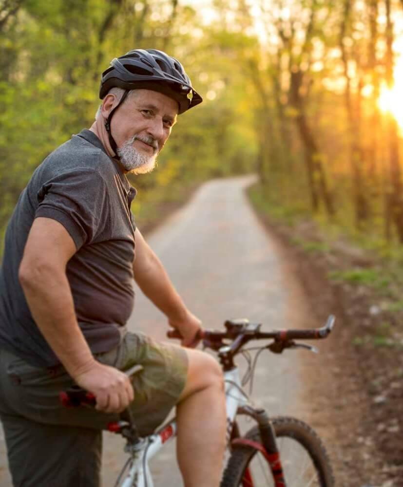 Man biking in Riverside