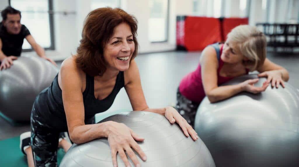 Fitness class at retirement community